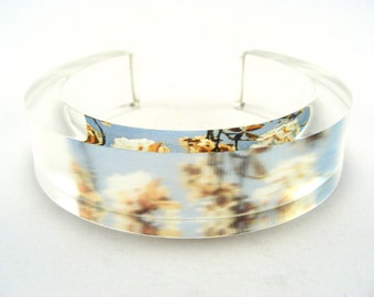 Medium Acrylic Plastic Bangle, Summer Cherry Blossom Chunky Jewellery Handmade