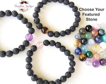 Beaded Bracelet-Lava Bracelet-Lava Bead Bracelet-Lava Rock Bracelet-Lava Stone Bracelet-Aromatherapy Bracelet-Essential Oil Diffuser