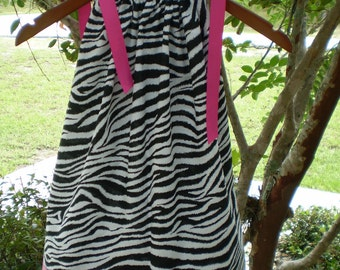 Toddlers Zebra Print Pillowcase Dress