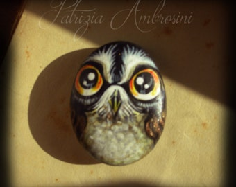 OWL N.37 -  Handpainted, rock painting, painted stone, miniature, painted rock, pebble, fine art