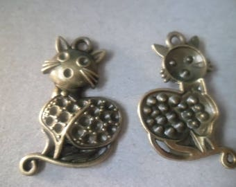 "x 2 bronze charms/connector ""kitten"" 3.7 x 2.3 cm"