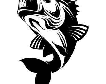 Bass Fishing #8 Logo Angling Fish Hook Fresh Water Hunting Largemouth Smallmouth Striped .SVG .EPS .PNG Clipart Vector Cricut Cut Cutting
