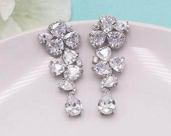 Wedding Earrings, CZ Chandelier earrings, cubic zirconia earrings, wedding jewelry, wedding earrings, Laney Long Earrings