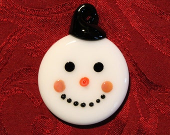 Handmade Glass Snowman Ornament