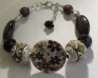 Big Brown Beads with Flowers Bracelet