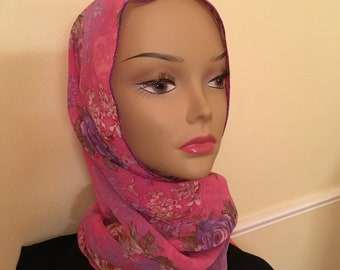 Snappy Scarf Pink Floral All-in-One head scarf, neck scarf and headband made of lightweight chiffon