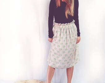 Midi skirt - high waisted skirt  - gift for her - midi skirt with print - summer skirt- vintage print skirt