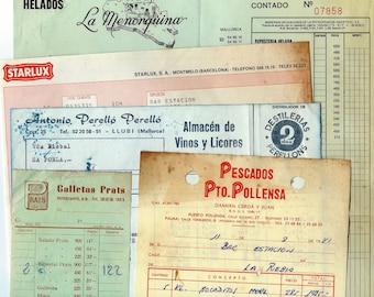 10 Vintage spanish office supplies - Receipts - Colored pack
