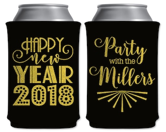 Custom Holiday Party Coolers Custom Beverage Insulators Party Favors | Happy New Year (1A) NYE | Can Holders/Beer Holders | READ DESCRIPTION