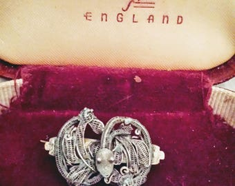 Antique victorian silver filligree snake serpent brooch lapel pin
