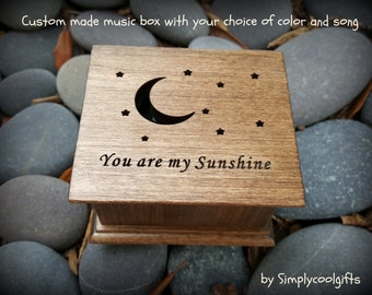 music box, custom made music box, You are my sunshine, moon and stars, personalized music box, music box shop, love you, Valentine's day