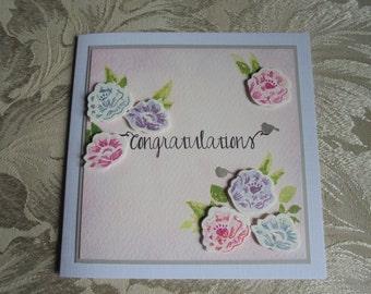 Congratulations card. Floral congratulations. Pink congratulations card.