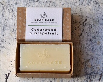Handmade Cedarwood & Grapefruit Soap, natural soap, large soap, vegan soap