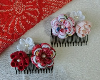 "Handmade Japanese Traditional ""Tsumamizaiku"" Hair Comb"