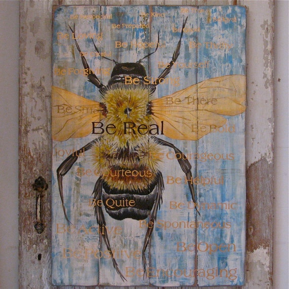 Bee original acrylic painting on reclaimed rustic solid wood board