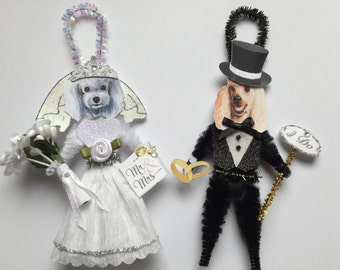 Poodle BRIDE & GROOM ornaments Wedding Dog ornaments vintage style chenille ORNAMENTS set of 2