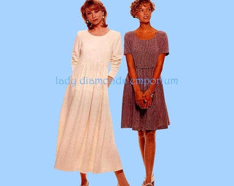 McCalls 7757 Womens Pullover Dress w Gathered Mini Maxi Skirt size 8 10 12 14 Bust 31 32 34 36 Vintage Sewing Pattern Uncut FF