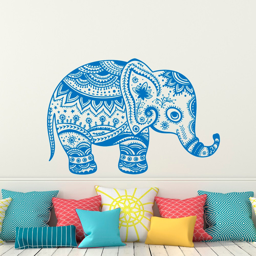 Indian Elephant Wall Decal Stickers Elephant Yoga Wall Decals