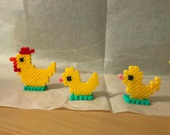 Hama bead chicken with yellow chick