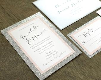 Glitter Wedding Invitation Set, Silver Wedding Invitation, Silver Glitter Wedding Invitation, Blush Wedding Invitation, Elegant Wedding