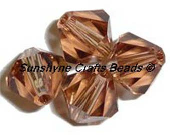 Swarovski Crystal Beads 5301/5328 LIGHT SMOKED TOPAZ Xilion Faceted Bicone Beads - Sizes 4mm & 6mm available