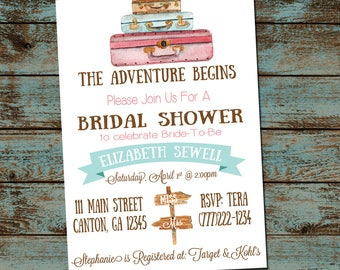 Travel Bridal Shower Invitation, Miss to Mrs Bridal Shower, Adventure Begins, Bridal Shower Invitation, Digital Invitation, Printable, DIY