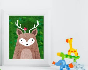 Deer, Cardinal, Woodland Animals, Woodland Critters, Nursery, Animal Wall Art, Kids Room, Animals, Print