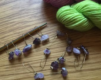 Set of five stitch markers for  knitting christmas AMETHYST