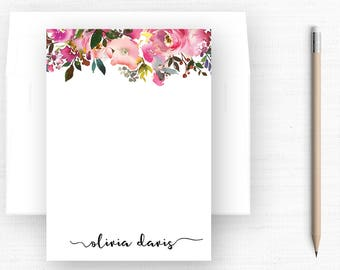 Personalized Stationery (Sets of 10) / Floral Border / Personalized Stationary / Engagement Gift / Wedding Gift/ Personalized Gift