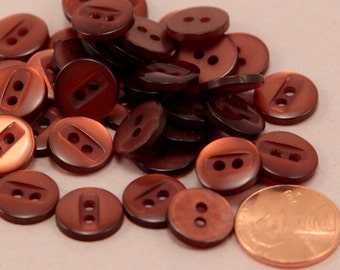 """24 Small Copper Tone Pearlized Sew-though Plastic Buttons Almost 1/2"""" 12MM # 6370"""