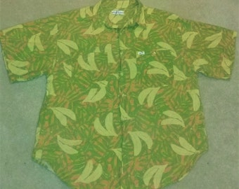 Vintage Guess by Georges Marciano Banana Palm Frond Print Shirt Large