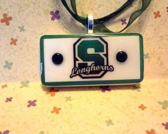 Stonewall Longhorns team Spirit Pendant   Repurposed Game Tile  Domino Jewelry item 333