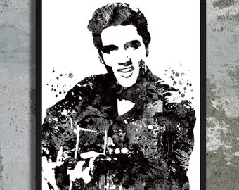 Elvis Presley Watercolor Print Poster King Art Rock And Roll Home Wall Decor Music Legend Star