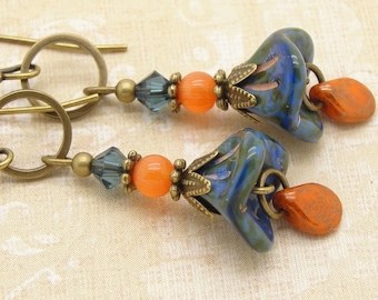 Blue and Orange Boho Earrings with Picasso Glass Flowers