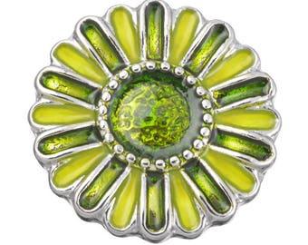 x 1 snap (for jewelry) 20 mm Green enamel flower
