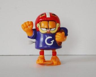 Vintage Garfield Toy, Wind Up Garfield, Football Garfield Figure, 90's Collectibles