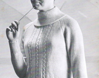 Women's Turtleneck Pullover with Cabling Knitting Pattern PDF / Sizes 14 16 18 20 / Knitted Cabled Pullover pattern / Turtleneck pattern