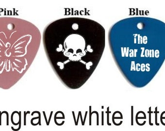 """Engraved Custom Personalized Metal Guitar Pick Necklace - comes with .25"""" jump ring and 24"""" ball chain necklace"""