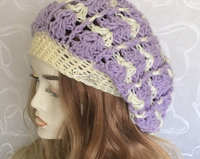 Slouchy Crocheted Hat-Newsboy Cap-Women's Hats-Warmhats-Winter Hats-Lavendar & Cream- Accessories