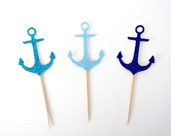 Anchor Cupcake Toppers - Nautical Party Decor, Bachelorette Party Decor, Nautical Birthday, Beach Party Decor, Nautical Baby Shower