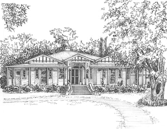 House Portrait  -  Your home drawn in ink - Custom one of a kind artwork - hand drawn portrait