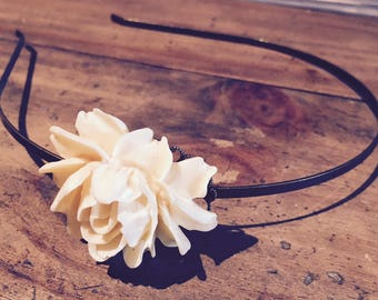 black or ivory...rose flower romantic headband. Tiara, headpiece, headband, Wedding Hair Accessory