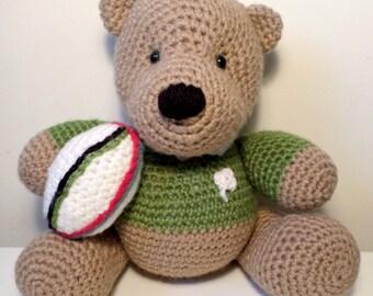 Crochet Irish Rugby Teddy Bear handmade just for you.