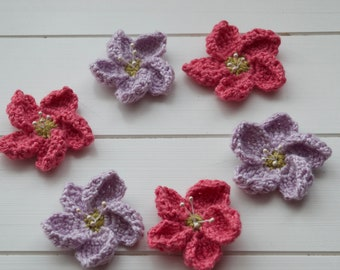 Crochet Pink and Lilac Flowers with pearl stamens