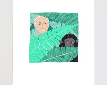 Jane Goodall Portrait Illustration Art Print
