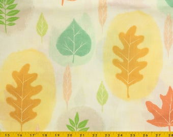 Cotton fabric, off white background, Large Green, Gold Orange leaves, Light and bright looking , 43 in. wide, Sell by the yard