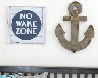 "NO WAKE ZONE, 18"" x 18"", nautical nursery, rustic nautical wall decor, lake house decor, beach house decor, wooden nautical decor"