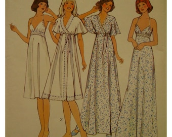 "Shoestring Strap Nightgown Pattern, Wrap Robe, Empire Waist, Bra Bodice, Flared Skirt, Lace Trim, 70s, Style No. 1906 Size 16 Bust 38""97cm"
