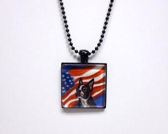 Boston Terrier American Flag painting Art Glass Tile Pendant Necklace