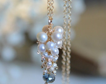 Freshwater Pearl with London Blue Topaz Necklace